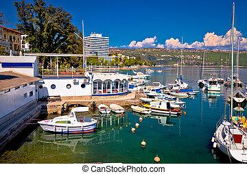 Harbor and waterfront of Opatija view, Kvarner riviera of ...
