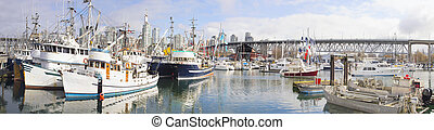 Harbor at Granville Island Vancouver BC Panorama - Harbor at...