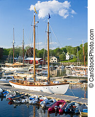 Harbor, Camden, Maine - Dinghies, sailboats and other...