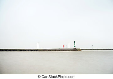 Harbor entrance - Minimalistic seascape - entering a harbor