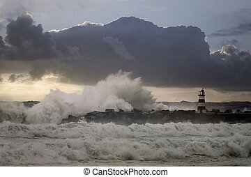 Harbor entry in a rough sea evening - Entry of Povoa do ...