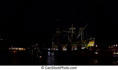 Harbor from Amsterdam by night in the Netherlands