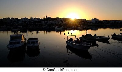Harbor from Lagos in the Algarve Portugal at sunset