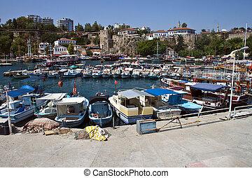 Harbor in Antalya witk small boats, Turkey