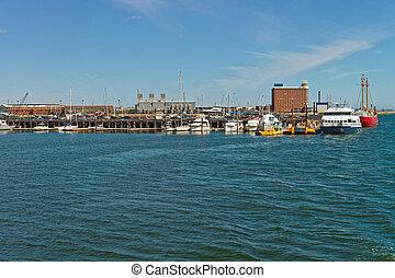 Harbor in Boston Wharf in Charles River