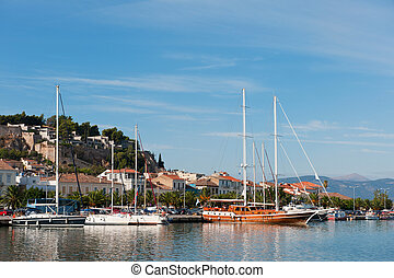 Harbor in landscape at Nafplion on the Peloponnesos in Greece