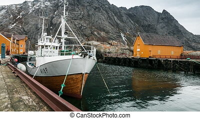 harbor of Nusfjord on the Lofoten in a timelapse movie