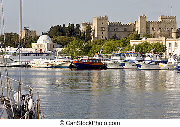 Harbor of Rhodes island in Greece