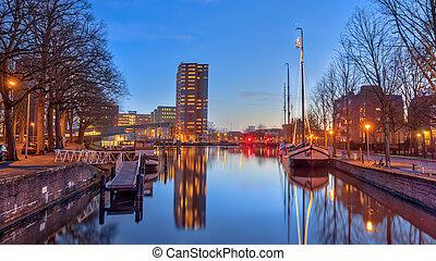 Harbor scene in historic part of Groningen city