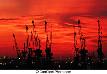 Harbor - Skyline from the harbor in Hamburg, germany.