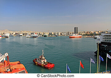 Harbor with Ferries, Cruise Ships and Freighters in Piraeus, Athens, Greece