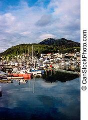 Harbor with fishing boats in Cordova, Alaska