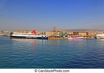 Harbor with Large Ferry Boats in Piraeus, Athens, Greece