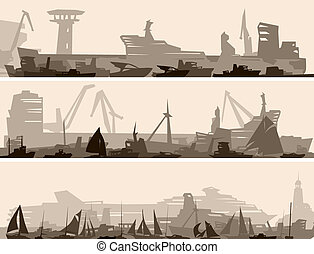 Vector abstract horizontal cartoon banner of big harbor with many different ships.
