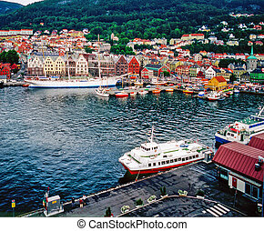 Bergen - Harbor with ships in Bergen, Norway