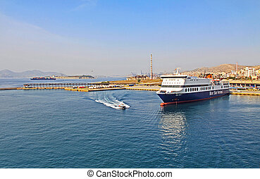 Harbor With Tugboat and Ferry Docked in Piraeus, Athens, Greece