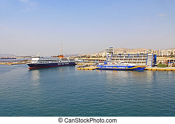 Harbor With Two Ferries Docked in Piraeus, Athens, Greece