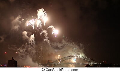 Harbour Bridge Fireworks - Pink, white and green midnight...