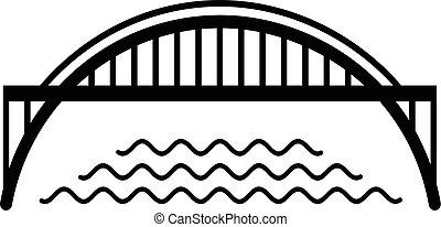 Harbour bridge icon, simple black style