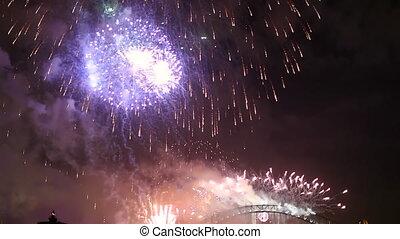 Harbour Bridge Violet Fireworks - Violet, Red and Pink...
