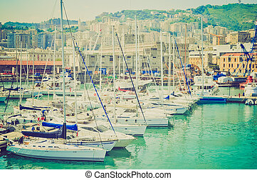 Harbour, Genoa, Italy retro look