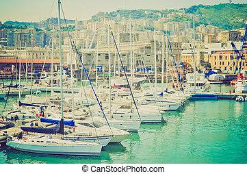 Harbour, Genoa, Italy retro look