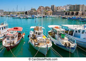 harbour., heraklion, crète, grèce