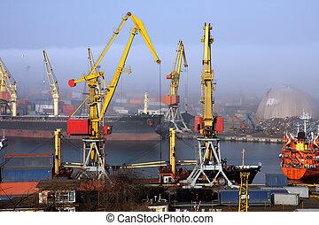 Harbour in mist - Black sea ship port in Odessa, Ukraine