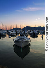 Harbour in the sunset
