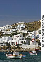 Boats in harbour Mykonos Cyclades, Greece
