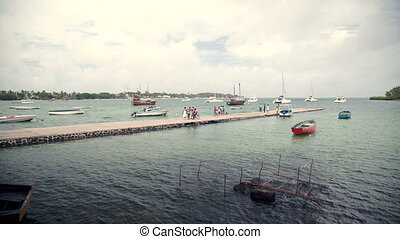 harbour of fisher village in mauritius