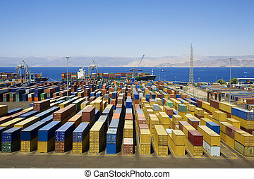 Harbour - Panoramic view of containters in a harbour