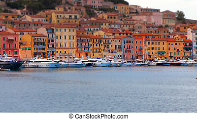 Harbour Scene Elba Tilt Shift effect