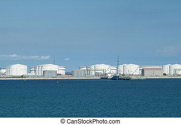 harbour with oil storage tanks