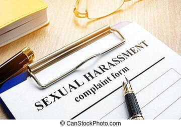 harcèlement, desk., formulaire, sexuel, plainte