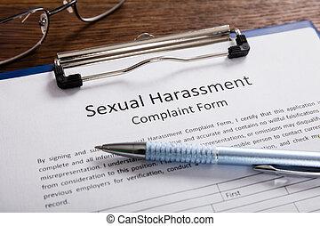 harcèlement, plainte, sexuel, stylo, formulaire