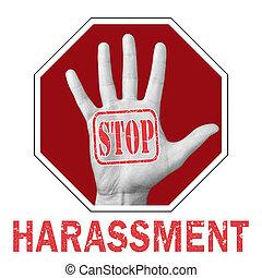 harcèlement, problème, arrière-plan., texte, arrêt, global, main ouverte, blanc, social