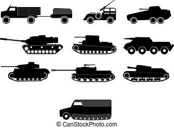 harckocsi, és, háború, gép, jármű