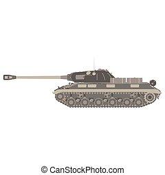 harckocsi, hadsereg, elszigetelt, ábra, gép, vektor, háttér, hadi, ikon, háború, szállít, tartály