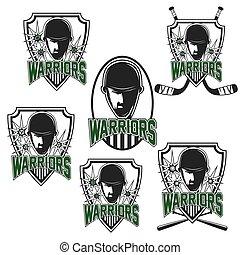 harcos, állhatatos, szüret, arc, treff, sport