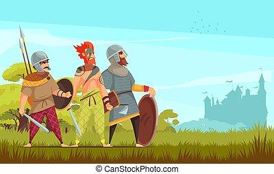 harcos, ősi, háttér, ábra