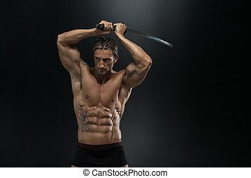 harcos, noha, hosszú, kard, felett, black háttér