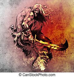 harcos, skicc, tetovál, nagy, küzdelem, kard, művészet