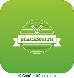 Hard blacksmith icon green vector