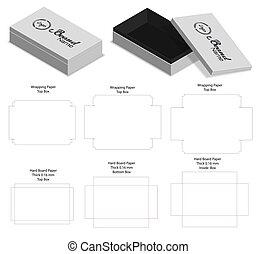 hard board paper rigid box 3d mockup with dieline