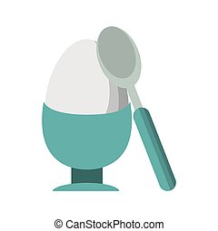 Hard boiled egg with spoon Vector illustration