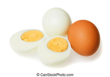 Hard boiled eggs - Hard boiled chicken eggs isolated on...