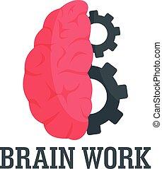 Hard brain work logo, flat style