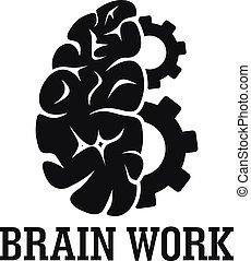 Hard brain work logo, simple style