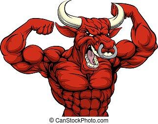 Hard Bull Sports Mascot - Cartoon mean strong red bull...